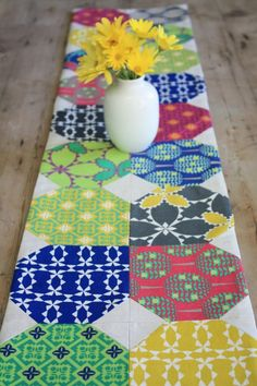 "Folk Modern Table Runner, 10"" x 60"", by Ellen Luckett Baker of The Long Thread. Author of 1,2,3 Sew and 1,2,3 Quilt shares her sew along for a modern table runner, measuring 10""x60"" Ellen also provides variation ideas for this runner and a link to Quilting Basics skill set videos VisitSite: http://www.kollabora.com/projects/folk-modern-table-runner"