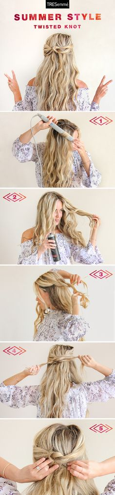 This gorgeous twisty knot, expertly rocked by Cara McLeay of A Fashion Love Affair, is the perfect way to tame beachy waves. It's way easier than it looks! All you need is Tresemmé Perfectly un(Done) Hairspray and a bobby pin to tie this look together.