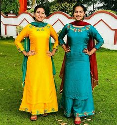 Image may contain: 2 people, people standing and outdoor Punjabi Suits Designer Boutique, Boutique Suits, Designer Punjabi Suits, Indian Designer Wear, Punjabi Suits Party Wear, Punjabi Salwar Suits, Punjabi Dress, Salwar Kameez, Sharara