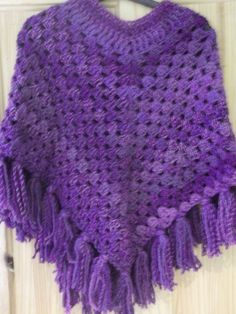 Girls Poncho Or Shawl Done In Shades Of Purple With by bobblesteps, $25.00