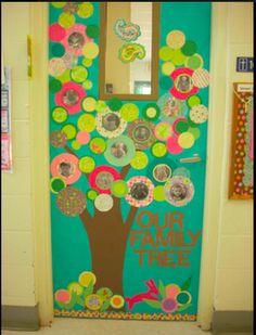 Our Family Tree Classroom Door Decoration Idea. For bird theme? Classroom Family Tree, Classroom Door, Classroom Design, Classroom Displays, Classroom Themes, Superhero Classroom, Classroom Labels, Back To School Bulletin Boards, Preschool Bulletin Boards