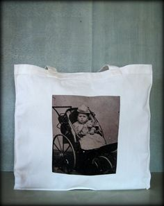 Tintype Tote  Baby In Baby Carriage by ScarlettSlipper on Etsy