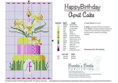 April Birthday Cake Cross Stitch Pattern   Brooke's Books Publishing