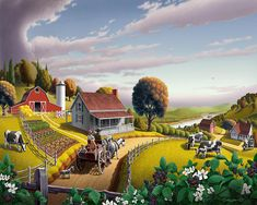 Folk Art Landscapes | Americana American Scene Landscape Painting - Country Farm Folk Art ...