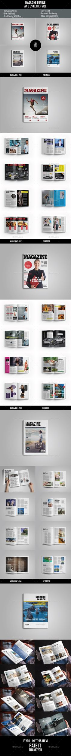Magazine Template InDesign INDD Bundle #design #journal Download…