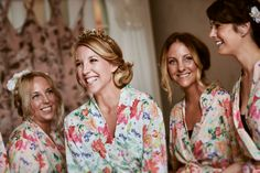 My beautiful bridesmaid in floral dressing gowns on the morning of my wedding!