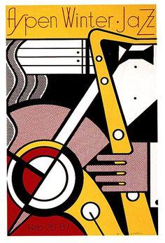 Roy Lichtenstein - Original Vintage Pop Art Music Poster For The Aspen Winter Jazz Festival In 1967 Roy Lichtenstein, Jazz Festival, Festival Posters, Jazz Poster, Poster Art, Poster Boards, Jasper Johns, Illustration Pop Art, Jazz Art