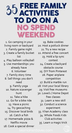 Best free family activities to have fun without spending money | No spend weekend with kids | Free fun with kids #nospendweekend #frugalfun #familytime via @mamafishsaves