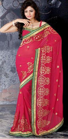 $55.72 Pink Embroidered Faux Georgette Saree 25721
