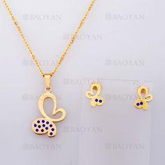 collar y aretes de mariposa de dorado en acero-SSNEG804090