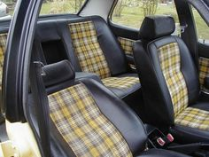 I like the idea of sprucing up the car interior with a pop of fabric down the center of the seats