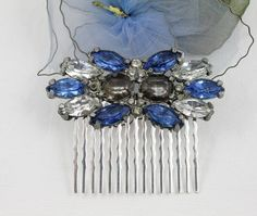 Vintage Royal Blue Jeweled Hair Comb  Large by myboutiquebijou.....$32.50