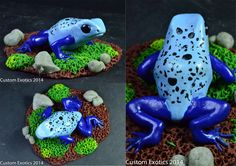Polymer Clay Blue Poison Dart Frog Figurine by CustomExotics.deviantart.com on @deviantART