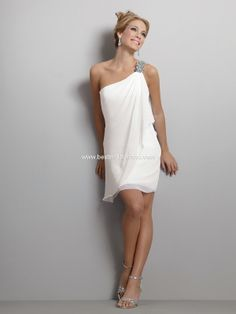 "Description: Jordan Moments ""LWD"" Dresses, Fall 2011. Diaphanous one shoulder chiffon sheath dress has softly draped front and back panels accented with a dramatically beaded applique."