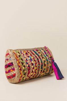 boho handwoven messenger bag in bright colours rag ethnic bag multi colour stripes embellished with fabric ribbons and pom pom inner fabric