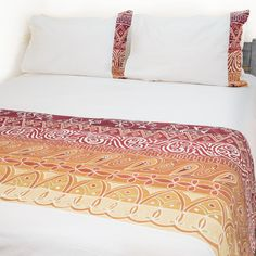 Duvet Covers ~ Artisans' Gallery Designs Double $240.00 USD Duvet cover and pillowcases in 100% cotton material, inlaid with beautiful hand-painted fabric strip in Tribal Textiles' flagship Artisan's Gallery design, featuring a stunning vibrant red, orange and crimson colourway. #TribalArtisansGallery #TribalTextiles