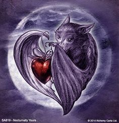 Image in Art collection by Miss Sookie Le Mort Beautiful Dark Art, Cute Bat, Vampires And Werewolves, Valentines Greetings, 3d Fantasy, Creatures Of The Night, Halloween Art, Halloween Tattoo, Animal Paintings