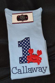 Crab Shirt   Birthday Shirt  Under the Sea Birthday Party shirt Monogrammed. $23.95, via Etsy.