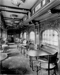 Train Travel in the 1800s - The interior of a Rococo period Pullman train car.