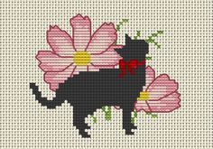 オリジナル図案 | クロスステッチ雑記帳『アトリエデイジー』 コスモスと猫