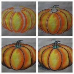...........pumpkin pastel drawing tutorial.Pumpkin Chalk Pastel Art Tutorial