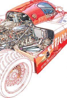 Canon Porsche Part Cutaway Porsche Rs, Porsche Autos, Le Mans, Mercedes Auto, Ferdinand Porsche, Car Illustration, Car Posters, Car Drawings, Car Sketch