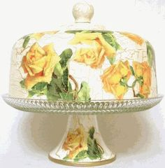 Yellow Rose Hand Decorated Pedestal Cake Plate
