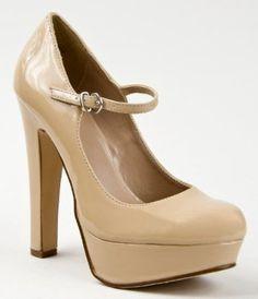 Amazon.com: Delicious ZEST Classic Mary Jane Closed Toe High Heel Platform Pump: Dark Beige Patent