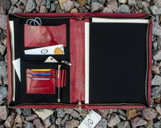 Leather Portfolio for Women, Personalized Gift for Her, Leather Folder for Documents, Leather Document Holder - Candide Briefcase For Men, Leather Briefcase, Planner Organization, Organizer Planner, Empty Canvas, Leather Portfolio, Personalized Gifts For Her, Engraving Services, Laptop Bag