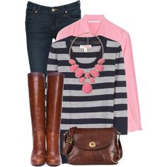I love this mix of navy stripes with pops of pink.
