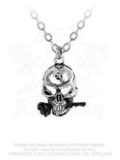ALCHEMY GOTHIC the Alchemist skull with rose necklace hand made in england #AlchemyGothic1977England #Chain