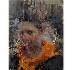 """Ann Gale """"Portrait with Orange Scarf"""" 14 x 11"""" oil on linen wrapped Masonite, 2014  image courtesy of the artist"""