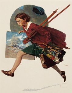 """Norman Rockwell, """"Wet Paint (Girl Running with Wet Canvas)"""""""