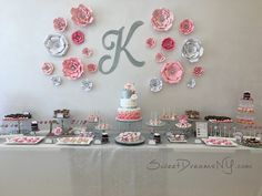 Pink, White and Silver Dessert Table – Sweet Dreams by Lori Baker 17th Birthday Gifts, Sweet 16 Birthday, Mom Birthday, Birthday Parties, Birthday Photo Banner, Teen Party Games, Diamond Party, Simple Birthday Decorations, Alphabet Images