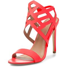 Fifth City Erin Cut-Out Caged Heel Sandal ($50) ❤ liked on Polyvore featuring shoes, sandals, pink, pink leather sandals, pink heel sandals, caged sandals, high heel shoes and slingback sandals