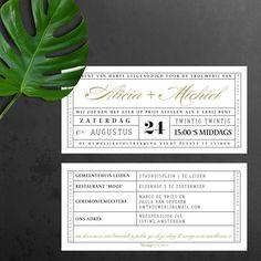 trouwkaarten-vintage-theaterticket Roaring Twenties, Our Wedding, Plant Leaves, Wedding Invitations, Typography, Wedding Invitation Cards, Wedding Invitation, Wedding Announcements, Wedding Invitation Design