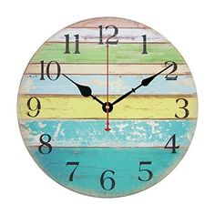 """Wall Clock, Yamix Wooden 12"""" Silent Wooden Wall Clock Home Decor Room Home Decorative Round Wall Clock Vintage Rustic Country Tuscan Style - Ocean Stripe A  #Clock #Country #Décor #Decorative #Home #Ocean #Room #Round #Rustic #RusticWallClock #Silent #stripe #Style #Tuscan #Vintage #Wall #Wooden #Yamix The Rustic Clock"""