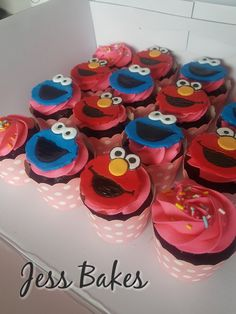 Elmo and cookie monster cupcakes with pink buttercream by Jess Bakes www.jessbakes.net