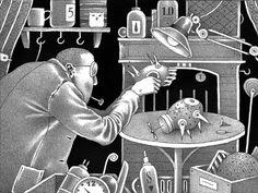 Invenções na casa de Martin. (ilustração de um livro do Einar Turkowski - tenho esse livro) Artist Life, Book Illustration, Surrealism, Black And White, Inspiration, Image, Illustrator, Artists, Google Search