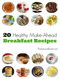 A collection of 20 healthy make-ahead breakfast recipes to help you save time and get your metabolism running in the morning. Healthy Make Ahead Breakfast, Make Ahead Meals, Breakfast Time, Breakfast Ideas, Breakfast Dishes, Healthy Cooking, Healthy Snacks, Cooking Recipes, Freezer Cooking