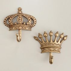 BEDROOM NEXT TO SLIDING DOOR: One of my favorite discoveries at WorldMarket.com: Antique Champagne Metal Crown Hooks, Set of 2