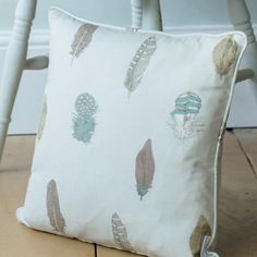 Complement your soft furnishings with our original Featherdown fabric in stone. With its soft shades of brown, grey and duck egg blue, it has a soft, countryside feel to it that will combine perfectly with your existing neutrals to take you through the year. Duck Egg Blue Cushions, Duck Egg Blue Fabric, Pastel Interior, Interior Ideas, Duck Egg Blue Candles, Blue Cushion Covers, Candle Shades, Muted Colors, Soft Furnishings