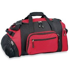 Red 20 Inch Sports Pattern Carry Shoulder Tote Duffle Bag Sport Adventure Duffel Hiking Climbing Travel Duffel Bag Compartment Removable Insulated