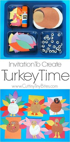 Invitation to Create: Turkey Time. Open ended, creative, quick and easy kids paper Thanksgiving craft. Great for color and shape recognition. Perfect fine motor work for toddlers, preschoolers, and elementary.