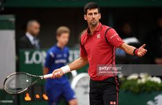 Novak Djokovic of Serbia reacts during the Men's Singles quarter final match against Tomas Berdych of Czech Republic on day twelve of the 2016 French Open at Roland Garros on June 2, 2016 in Paris, France.