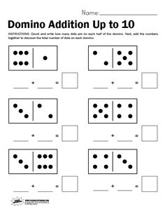 Domino Worksheet, Adding Up to 10   Paging Supermom