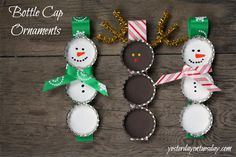 Make these adorable ornaments from bottle caps!