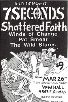 7 Seconds, Pat Smear, Winds of Change punk hardcore flyer