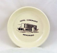 Vintage Hotel Coronado Mendrisio Glass Ashtray 4 Star Hotel Switzerland