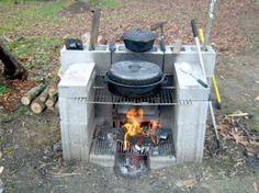 So simple! We should do this in our back yard. It get's too hot in the house to cook in the summer. This would be great to have :)